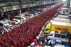 Buddhist monks marching in Rangoon, Burma