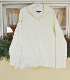 Chaps Ralph Lauren Fisherman Shawl Collar Cable Knit Sweater 2X Ivory Plus Size #CJBanks #Cardigan