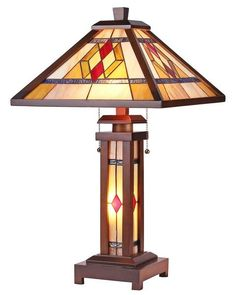 Arts Crafts Gareth Stained Gl Table Lamp