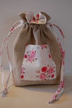 Burlap and Roses....Drawstring Bag with Pocket