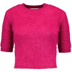 Carven Cropped knitted sweater (£146) ❤ liked on Polyvore featuring tops, sweaters, fuchsia, slimming tops, crop top, carven sweater, pink crop top and carven top