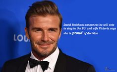 #DavidBeckham has announced he will be #voting to Remain in the #EU on Thursday.