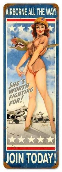 Vintage and Retro Wall Decor - JackandFriends.com - Retro Airborne All The Way  - Pin-Up Girls Metal Sign, $47.97 (http://www.jackandfriends.com/vintage-airborne-all-the-way-metal-sign-large/)