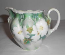 Antique RS Prussia China Creamer with White Floral Design and Gold Accents