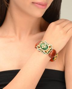 Rust Brown Beaded Bracelet with Kundan Brooch  by Just Jewellery
