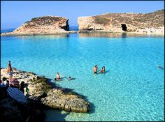 crystal waters near one of the blue lagoons in the islands of malta