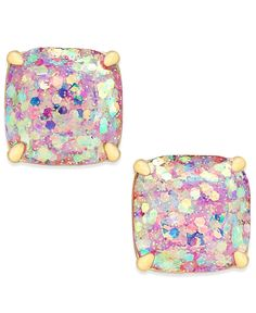 """Bring a little sparkle and glam to your style with these petite glitter-stone studs from kate spade new york. Designed in 14k gold-plated mixed metal. Post closure. Approximate length: 1/2"""". 