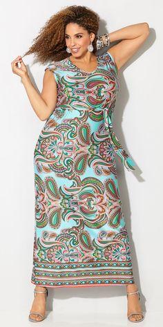 4e19fc7365d Plus Size Paisley Border Maxi Dress