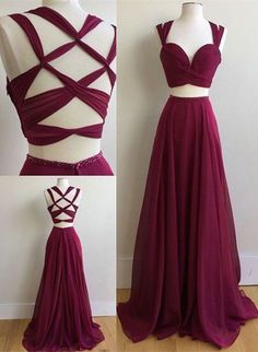 Two Piece Scoop Sweep Train Burgundy Chiffon Prom Dress with Beading