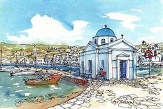 Mykonos Agios Nikolaos Church Greece art print from an original watercolor painting