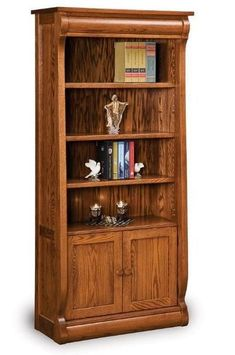 Amish Solid Wood Old Classic Sleigh Bookcase The flow of the Old Classic Sleigh Bookcase is warm and inviting. Features 4 adjustable shelves. Built in an Amish wood shop in choice of wood and stain. A solid wood piece that will last. #bookcases Amish Furniture, Solid Wood Furniture, Classic Furniture, Fine Furniture, Furniture Making, Furniture Storage, Furniture Ideas, Amish Crafts, Deep Shelves