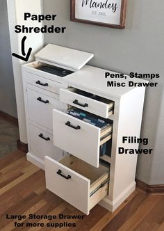 Build your own mail sorting and handling console. Features a built in shredder with EASY to dump trash, file cabinet dra Diy Furniture Projects, Woodworking Furniture, Home Projects, Woodworking Tools, Office Furniture, Woodworking Ideas Table, Green Woodworking, Woodworking Beginner, Small Woodworking Projects