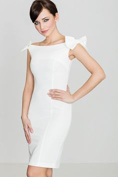 Looking for Bodycon Dresses? Call off the search with our Bodycon Midi Dress With Bow Details In White. Shop unique fashion at SilkFred Day Dresses, Blue Dresses, Dresses For Work, Dresses With Sleeves, Summer Dresses, Wedding Dresses, Dress With Bow, Wrap Dress, White Dress
