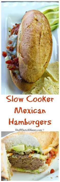 My Slow Cooker Mexican Hamburgers with Enchilada French Dip is the perfect family friendly Cinco de Mayo dinner. Yes, hamburgers in your slow cooker. Slow Cooker Beef, Slow Cooker Recipes, Crockpot Recipes, Hamburger Recipes, Meal Recipes, Baking Recipes, All Recipes Chili, Mexican Food Recipes, Ethnic Recipes
