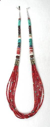 Tommy Singer Navajo Bamboo Coral Necklace. I like the structure of this. Will do it but fuller on the seed beads.