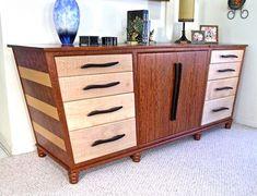 Handmade Art Deco Influenced Sideboard In Curly Maple, Bubinga, & Wenge
