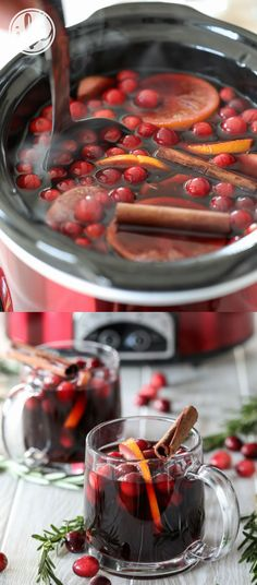 Slow Cooker Thanksgiving Sangria #crockpot #holiday #christmas #cocktail  #sangria