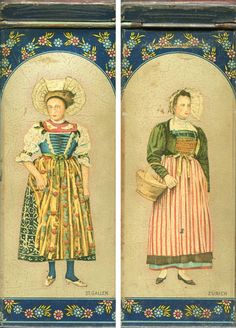 Swiss ladies, from St. Gallen & Zurich, on a tea tin. We had one just like this.