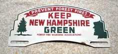 Vintage New Hampshire Metal License Plate Topper Fire Wardens Assoc. Green N.H.