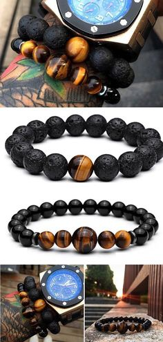 for men Tiger Eye Bracelet Set Tiger Eye & Lava Stone Bead Mens Bracelets. they come as a and currently on sale. perfect for any men style. Mens Bracelet Fashion, Mens Fashion, Bracelet Men, Fashion Jewelry, Rock Fashion, Chakra Bracelet, Beaded Jewelry, Beaded Bracelets, Jewellery
