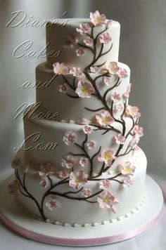 The Cherry (Blossoms) On Top — Cake Wrecks Wedding Cakes With Flowers, Beautiful Wedding Cakes, Beautiful Cakes, Amazing Cakes, Fancy Wedding Cakes, Cake Flowers, Beautiful Flowers, Cherry Blossom Cake, Cherry Blossom Wedding