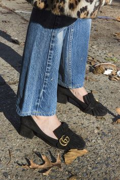 Gucci Marmont Fringe Suede Loafers on equally suave stylist Kathryn Typaldos.