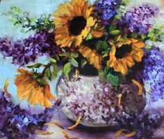 Petals Like Rain - Lilacs and Sunflowers, painting by artist Nancy Medina