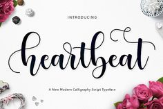 Heartbeat Script Fonts Introducing **Heartbeat Script****Heartbeat Script** is modern script font, every single letters h by Jamalodin Script Typeface, Modern Script Font, Handwritten Fonts, Calligraphy Fonts, Modern Calligraphy, Beautiful Calligraphy, Font Design, Design Typography, Typography Fonts