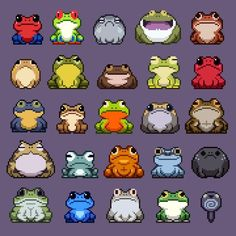 No photo description available. Animal Drawings, Cute Drawings, Arte Ninja, Frog Pictures, Pixel Art Games, Frog Art, Cute Frogs, Perler Bead Art, Frog And Toad