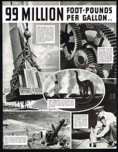 "Check out this ad from 1934!  ""One gallon of Sinclair H-C Gasoline could actually hoist the Empire State Building 1 ¾ inches – is all its potential energy could be fully utilized. Every gallon of powerful, new H-C has a potential of 99 million foot-pounds of work. Ask the Sinclair dealer for his booklet explaining foot-pounds and the power in the new H-C""  Enjoy your weekend Sinclair Friends! Enjoy Your Weekend, Old Trucks, Empire State, Booklet, Friends, Building, Check, Amigos, Buildings"