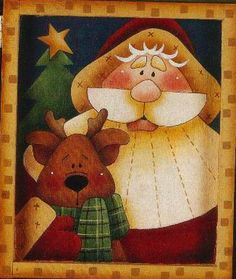 Risultati immagini per pintura country diseños con patron Christmas Applique, Christmas Sewing, Felt Christmas, Christmas Crafts, Christmas Decorations, Christmas Ornaments, Santa Paintings, Christmas Paintings, Illustration Noel