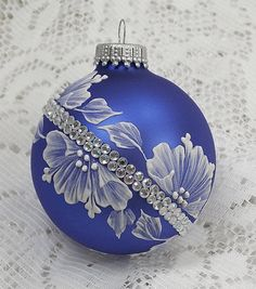 Royal Blue Hand Painted 3D White MUD Textured Floral Design Ornament with Bling 211