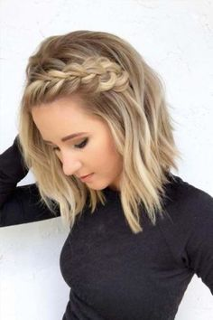 41 Pretty Braids for Short Blonde Haircuts in 2018 Braided Hairstyles Short Blonde Haircuts, Prom Hairstyles For Short Hair, Braided Hairstyles For Wedding, Haircut Short, Haircut Styles, Cute Braided Hairstyles, Hairstyles 2018, Hairstyles For Medium Length Hair Easy, Hairstyles For High School