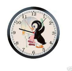 Cute penguin bathroom clock