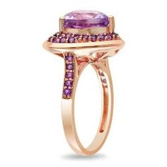 Miadora Pink Silver Amethyst and Rose de France Heart Ring - Overstock™ Shopping - Top Rated Miadora Gemstone Rings