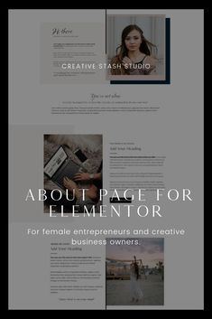 This about page layout is made using the free Elementor Page Builder plugin for WordPress. You can add your own branding, copywriting, photography, and other elements like colors and fonts.