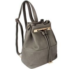 Gray - Dasein Faux Leather Convertible Drawstring Bucket Bag and Backpack - Overstock™ Shopping - Top Rated Dasein Crossbody & Mini Bags