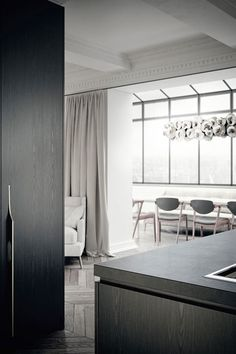 The inspiration for the interior design of this New York Residence, sets out from the selection of a simplistic and … Modern Interior, Home Interior Design, Interior Architecture, Interior Decorating, Minimalist Kitchen, Minimalist Design, Parisian Apartment, Kitchen Design, Kitchen Ideas