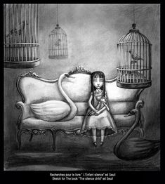 """Benjamin Lacombe - Sketch for the book """"L'Enfant Silence"""" Ed.: Seuil"""