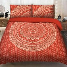 Find many great new & used options and get the best deals for Bohemian Cotton Red Gold Ombre Mandala Duvet Pillow Cover Set Indian Doona Cover at the best online prices at eBay! Bed Cover Sets, Bed Covers, Pillow Covers, Cotton Sheets, Cotton Duvet, Mandala Duvet Cover, Rainbow Room, Printed Curtains, Comforter Cover