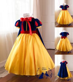 Sapphire and ruby velets, luxurious rich yellow satin, full petticoat built in, detachable velvet sash and bow (so you may use with our other.