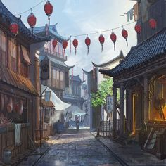 Chinese Streets, InfiniteCube Studio on ArtStation at https://www.artstation.com/artwork/qexRz