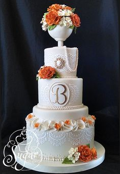 pearls and lace wedding cake | Flickr - Photo Sharing!