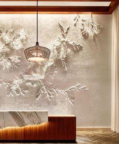 "Foyer Elegance Nina Helms, New York Sculptural Illustrator Creates ""Makai"" Hotel Reception, Reception Design, Office Reception, Commercial Design, Commercial Interiors, Rockwell Group, Hotel Lobby Design, Japanese Interior, Interior Design Living Room"