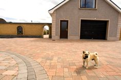 River Stone paving in Slaney with Blackwater edging (and Bullnose Kerb Setts in Slate Non-rumbled)