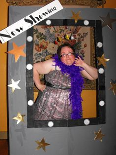 """Now Showing"" movie poster cut out frame.have a table of fun props and let your guests go to town taking pictures. We had a lot of fun at this wedding done in the theme of old Hollywood! Old Hollywood Prom, Old Hollywood Theme, Hollywood Night, Hollywood Party, Dance Decorations, Dance Themes, Movie Themes, Party Themes, Movie Theme Decorations"
