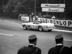 The California Spider at speed during the 1959 24 Hours of Le Mans on route to a 5th overall and 3rd in class finish.