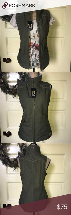 """NWT Girl Tough Canvas faux fur collar olive vest M NWT NobleOutfitters Girl Tough Canvas faux fur collar Olive Vest  Size M. Chest 18"""", Length 24"""" Strong enough for a day's work, yet lifestyle flattering. Great fit, great style. IN STORES NOW!   Features: 100% cotton 8.8oz water repellant canvas  Soft brushed 40gram quilted lining Front hand warmer pockets w/snap closure Angled yokes with quilted details Triple needle topstitching with slimming details Inside phone pocket w/earbud port…"""