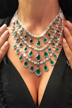 Words cannot describe how heavenly this emerald necklace by is. Emerald Necklace, Emerald Jewelry, Diamond Jewelry, Turquoise Necklace, Pendant Necklace, Emerald Diamond, Saphir Rose, Discount Jewelry, Necklace Designs