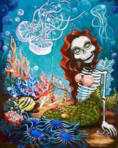 Mermaid Skeleton Art Print Sunken Treasure Coral Jellyfish Day of the Dead Poster. Gothic Home Decor Wall Art Illustration. Red Hair Siren